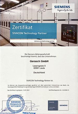 SIVACON-Zertifikat-Saxlander-Gerasch-Siemens-Partner-300x440px